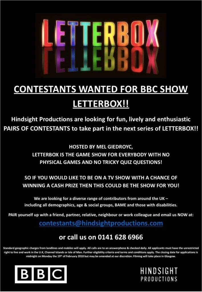 Contestants wanted for BBC Show Letterbox