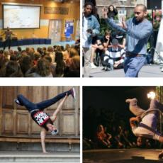 Street-dancers and speakers