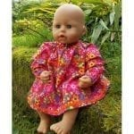 Cerise Floral Winter Dress for Baby Dolls