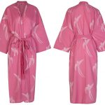 Kimono Dressing Gown – Long Tailed Bird White on Pink
