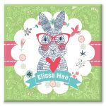 Spectacled Rabbit personalised canvas print