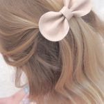 Leather Bow Hair Clip Ballet Pink