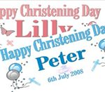 Personalised Christening Banner – Balloons & Crucifix