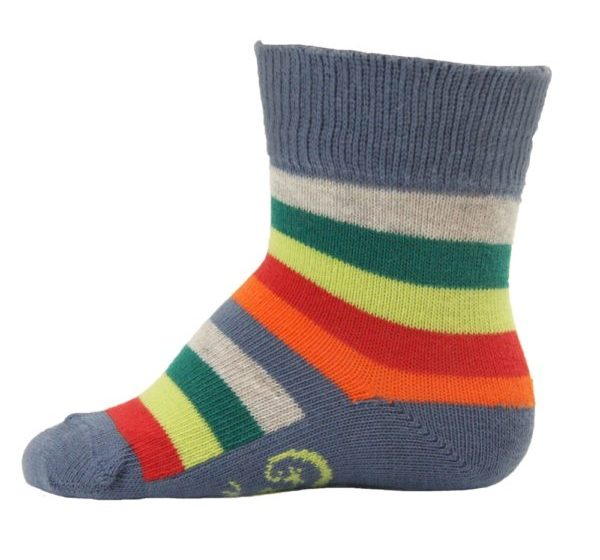 Grey Stripe STAY ON Cosy Towelling Baby Socks from Little Grippers