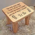 Solid Oak Engraved Stool