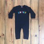 Personalised Black Babygrow