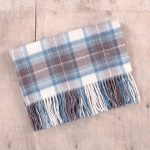 Super Soft Lambswool Baby Blanket in Stewart Muted Blue Tartan