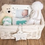 First Christmas Polar Bear Baby Basket – with personalised baby vest