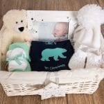 First Christmas Polar Bear Baby Hamper – with personalised baby vest