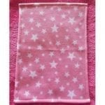 Pink Starry Night Fleece Blanket for Doll's Cot or Pram