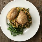 Chicken thighs with summer vegetable rice
