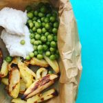 Poached Cod, Homemade Chips & Peas