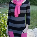 Knitted Striped Dress - Black/Pink from A Beautiful Mummy