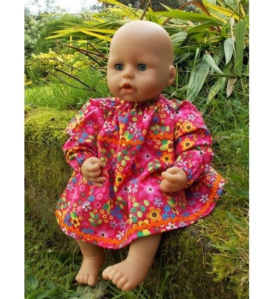 Cerise Floral Winter Dress for Baby Dolls