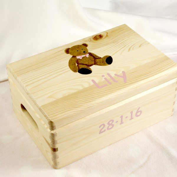 Baby Keepsake Box: large, teddy with pink bow