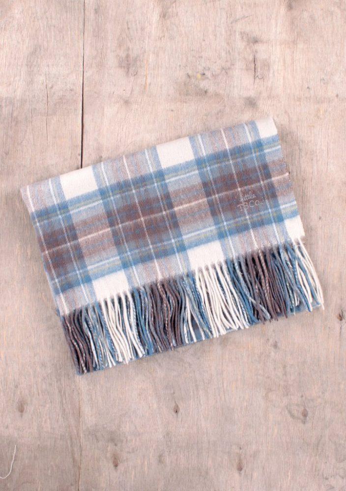 Super Soft Lambswool Baby Blanket in Stewart Muted Blue Tartan
