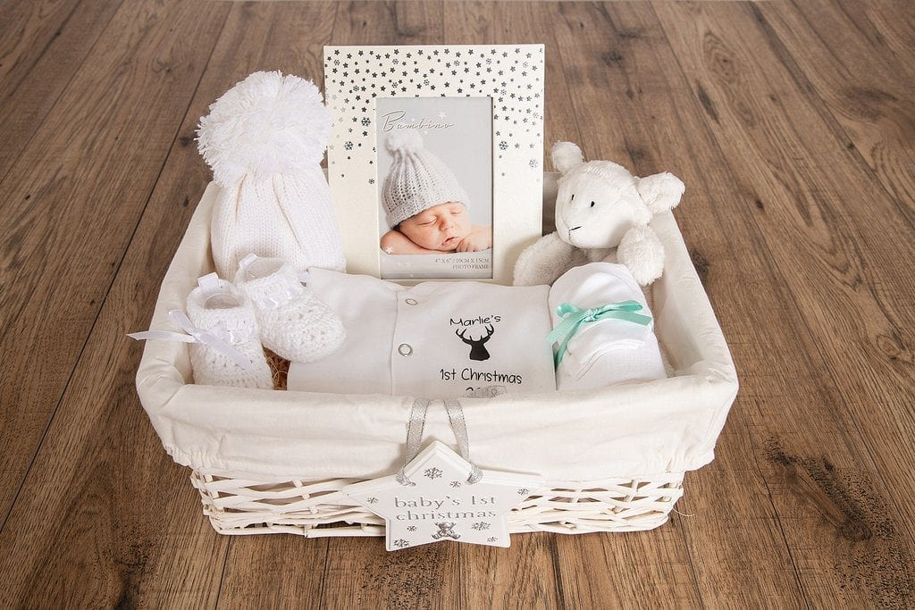 Personalised Baby's 1st Christmas Hamper with baby sleepsuit