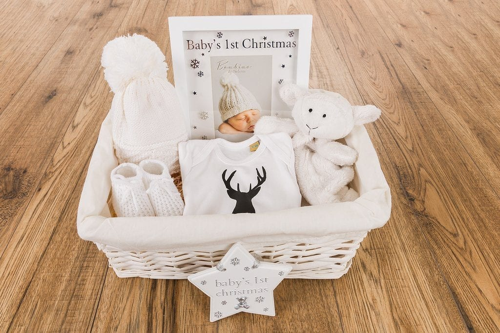 Personalised Baby's 1st Christmas Hamper with baby vest