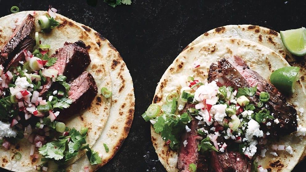 Steak tacos with radish salsa